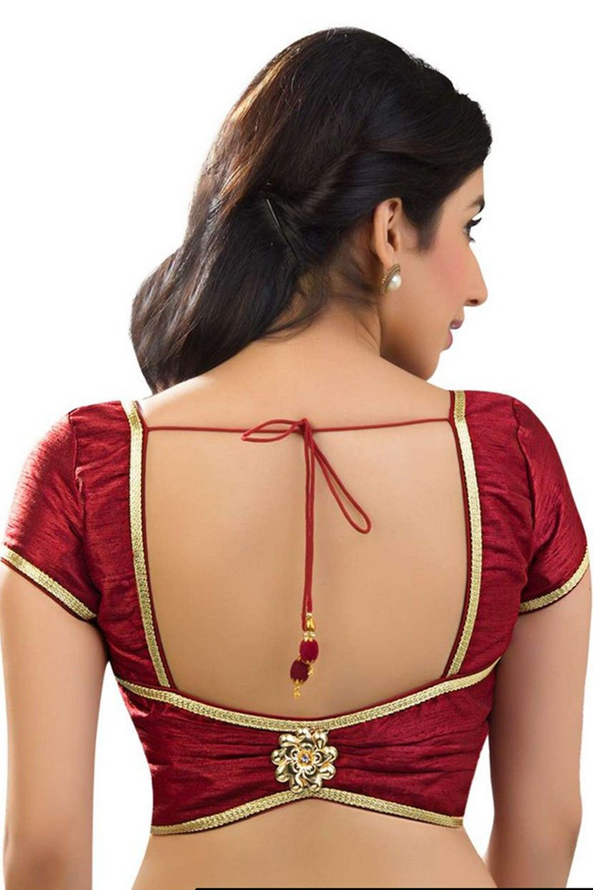 lava #maroon casual wear raw #silk fashionable #blouse with cap