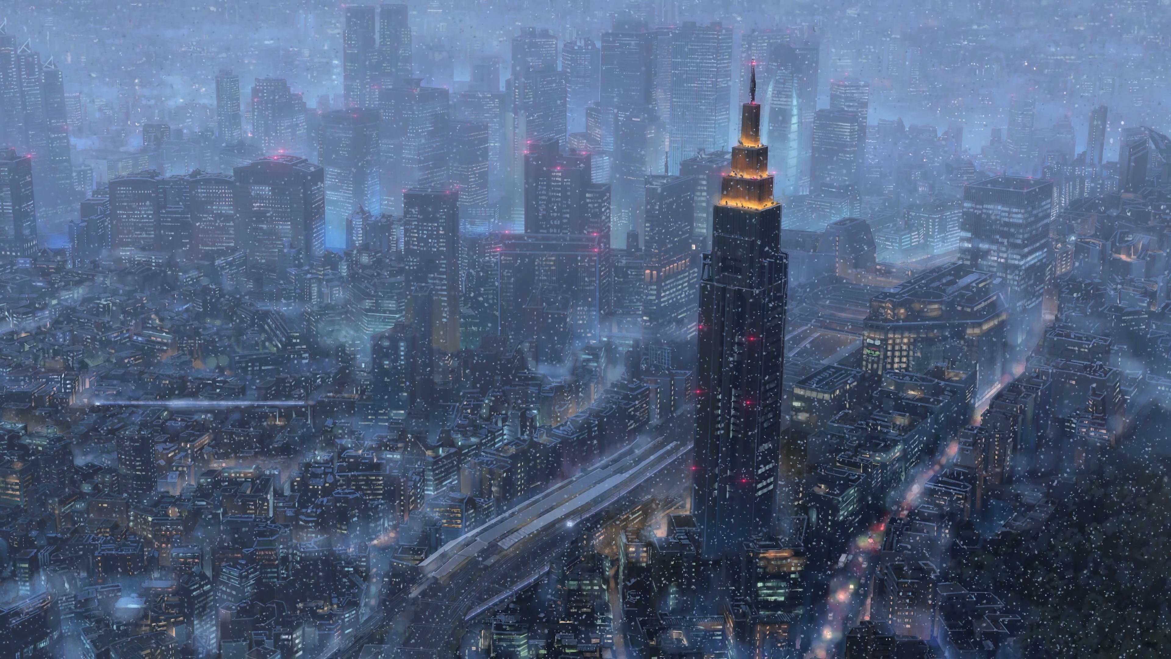 Anime 3840x2160 Makoto Shinkai Kimi no Na Wa cityscape