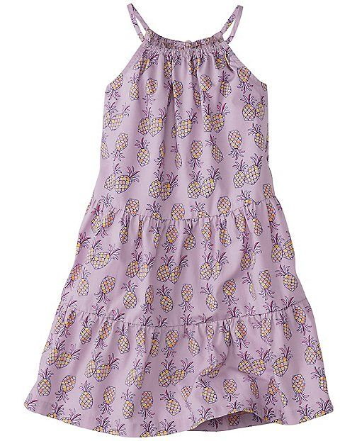 Super pretty sundress is crafted from microsanded poplin with all the spin-ready power she needs, along with sweet new spaghetti straps and crazy-cute prints. So easy, it's over the head and out the door.  <br>•100% microsanded cotton poplin <br>•Comfy encased stretch front and back neckline <br>•Spaghetti straps <br>•Back keyhole with button closure and decorative bow <br>•Full tiered skirt <br>•Certified by OEKO-TEX® Standard 100 | 03.U.9375 - FI Hohenstein <b...
