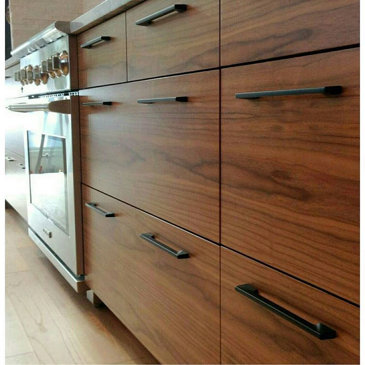 A Nice Sequence Of Flatsawn Walnut With Sleek Black Pulls From Canada A Few Years Back Th Walnut Kitchen Cabinets Modern Walnut Kitchen Budget Kitchen Remodel