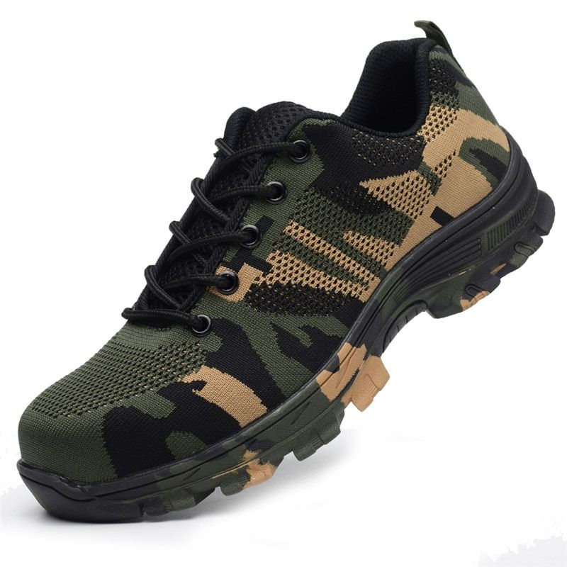 Men/'s Safety Shoes Steel Toe Work Camo Boots Breathable Hiking Climbing Sneakers