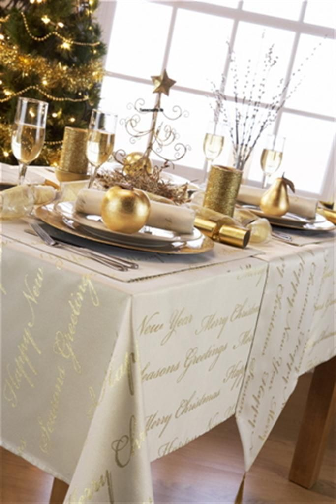 Details About New Christmas Tablecloths Wine Cream White Gold Silver Script Round Rectangle Christmas Table Cloth Table Cloth Gold Christmas