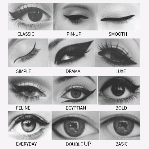 Names and styles of eye makeup are as varied as their