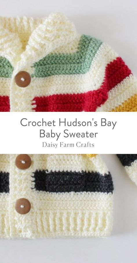 Free Pattern - Crochet Hudson\'s Bay Baby Sweater | Knitting and ...