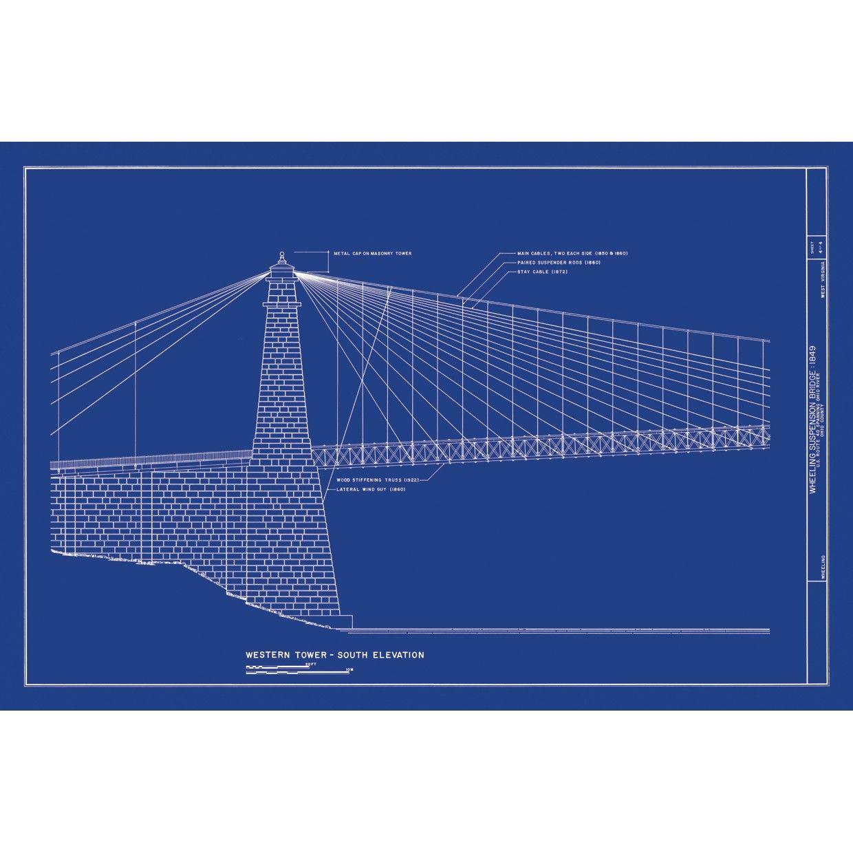 Architecture art blueprint wheeling suspension bridge