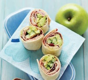 Avocado, Cucumber, and Ham 'Sushi' Sandwiches. A healthy lunch sandwich for kids and grown-ups alike!