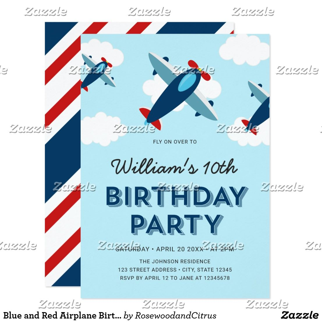Blue and Red Airplane Birthday Party Invitation Zazzle