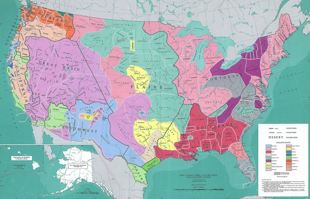 Rough Approximation of American Indian Locations Around 1492 RP