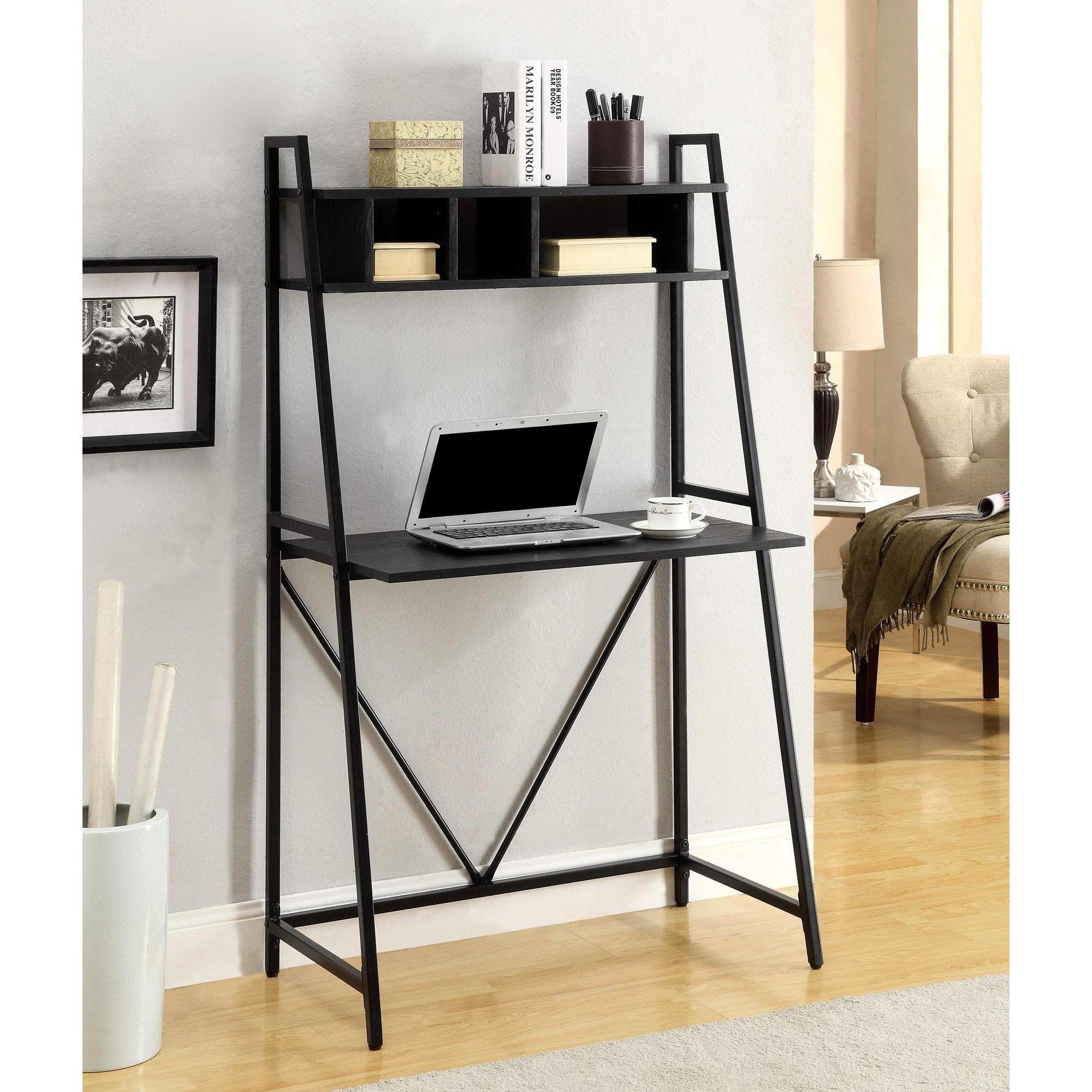 Transitional style writing desk with storage shelf black
