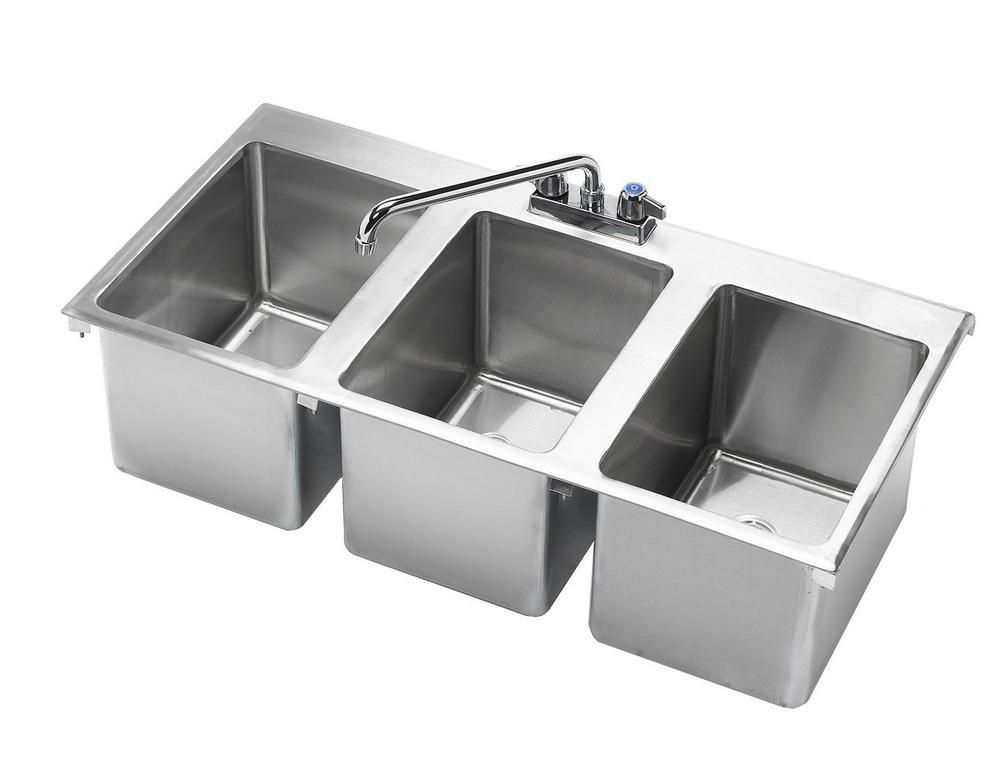 Details about KROWNE METAL 3 COMPARTMENT DROP-IN HAND SINK W/ 12 ...
