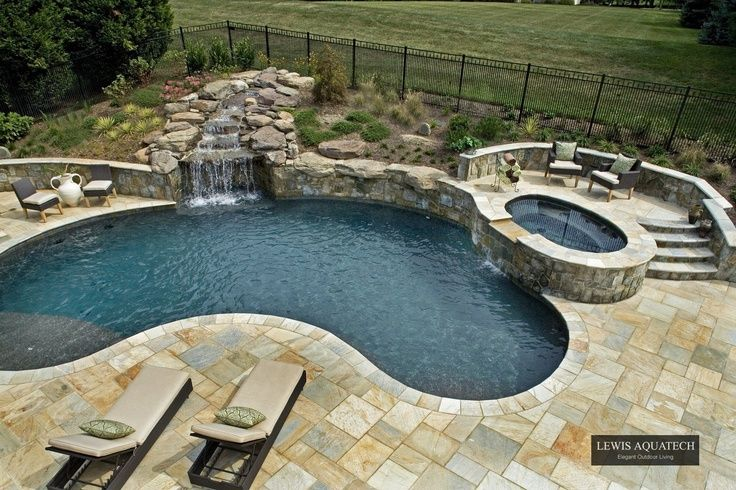 Kidney Shaped Pool With Hot Tub Google Search Kidney Shaped Pool Spa Pool Backyard Pool