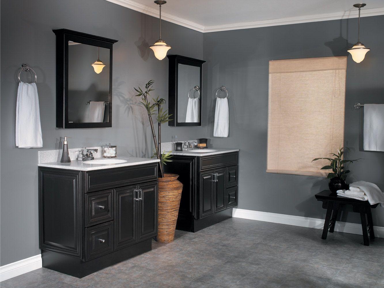 Bathroom Wall Color With Dark Cabinets Black Vanity Bathroom