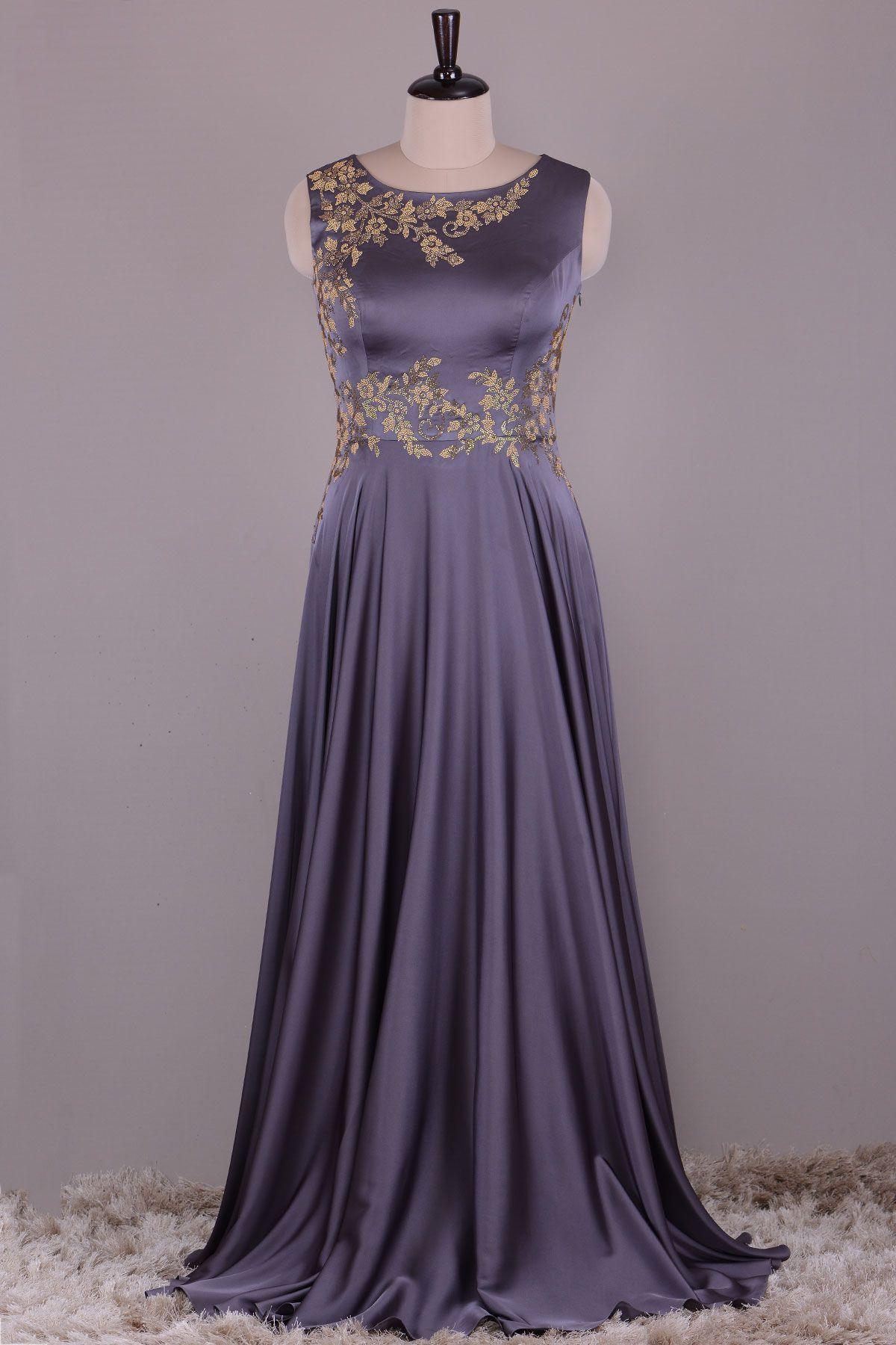 Buy Graphite Grey Stone Embroidered Satin Evening Gown Online ...