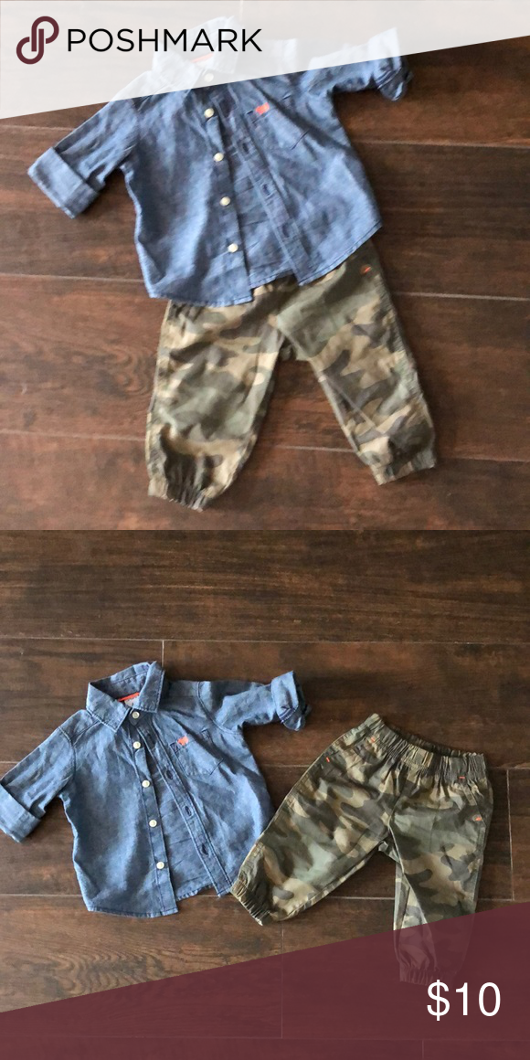 74d75df32 Jean shirt with camouflage pants Carters 6 months boys outfit jean shirt  with camouflage pants! Carter's Matching Sets
