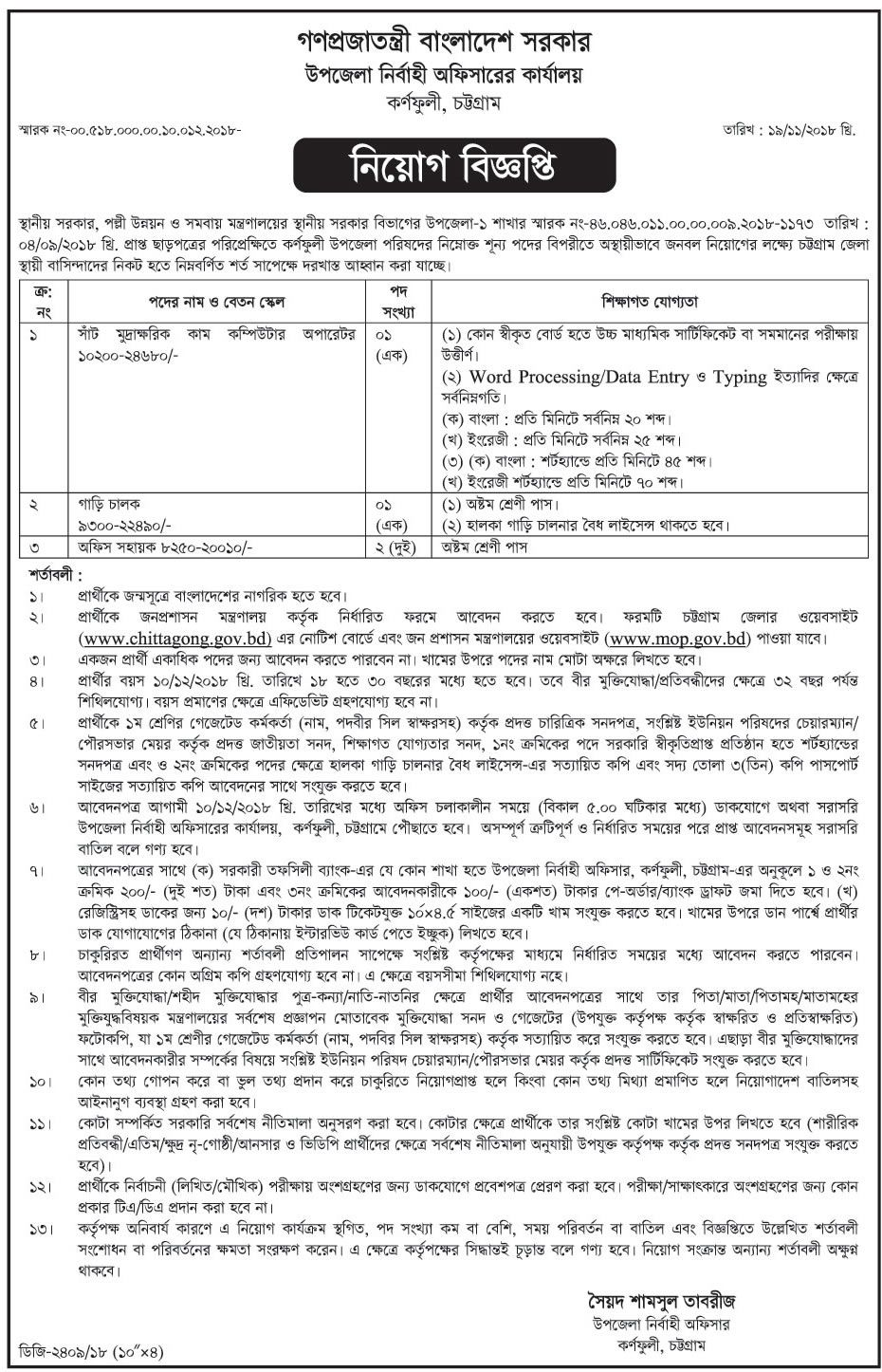 Chittagong UNO office job circular Job circular