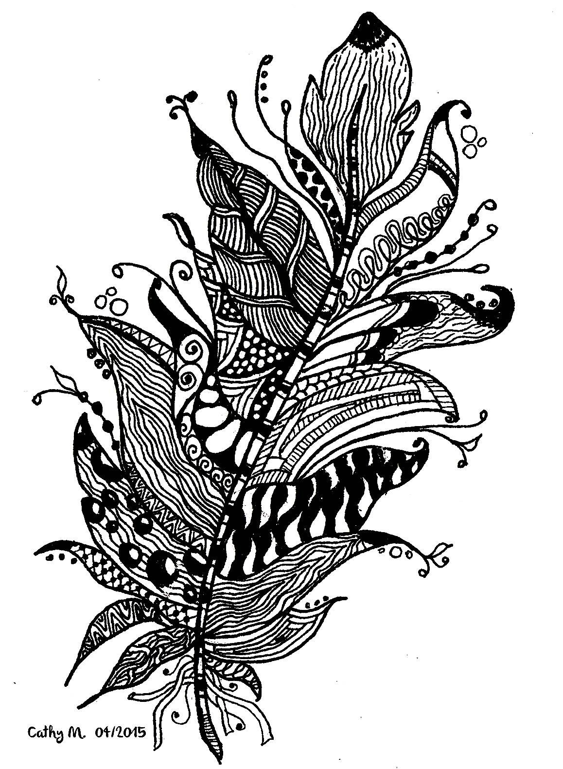 Free printable zentangle coloring pages for adults - Free Coloring Page Coloring Zentangle By Cathym 11 Fancy Feather