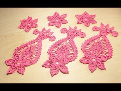 Урок вязания крючком ажурного мотива ЦВЕТОК С АНАНАСОМ crochet irish lace - YouTube #irishcrochetmotifs
