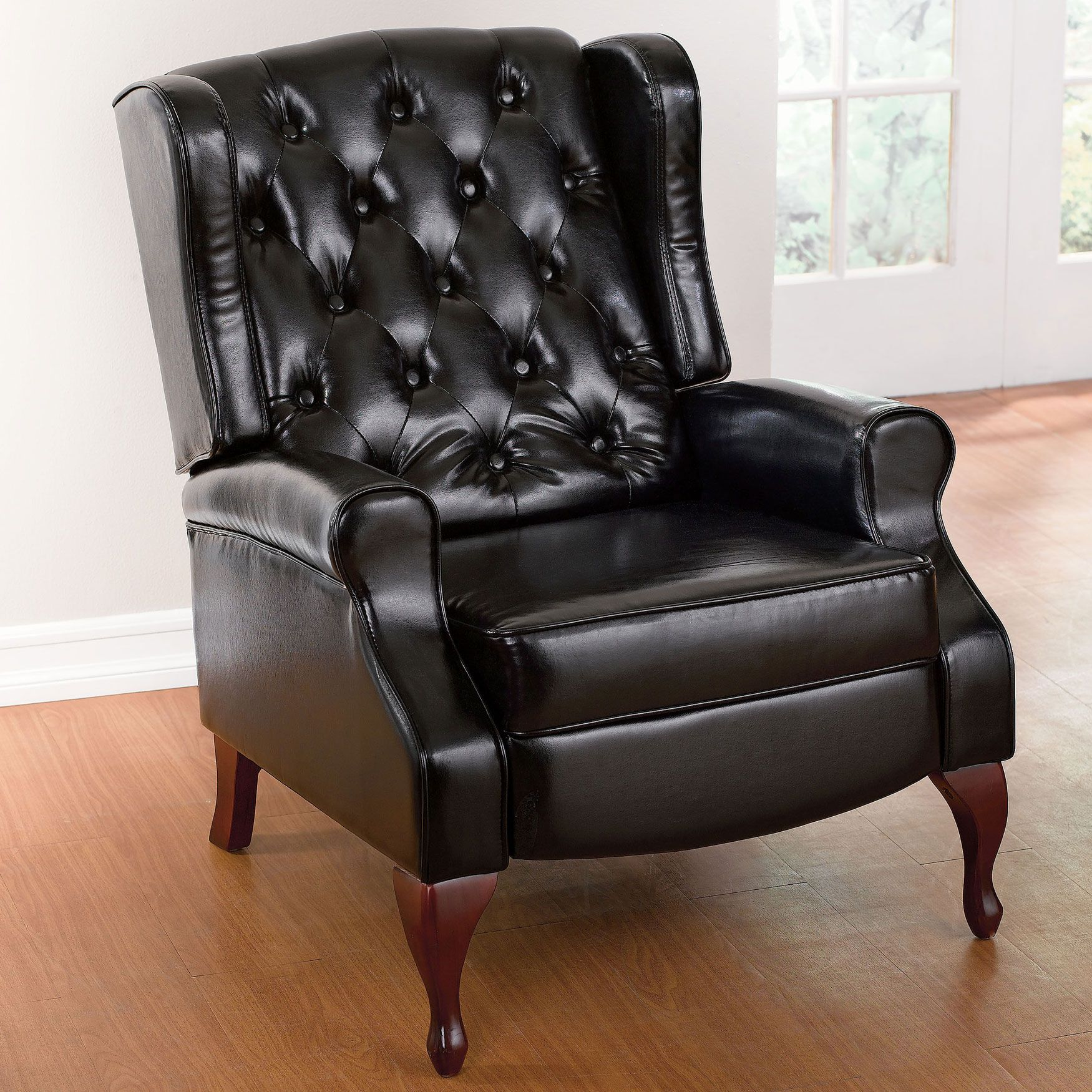 queen anne style tufted wingback recliner plus size extra large