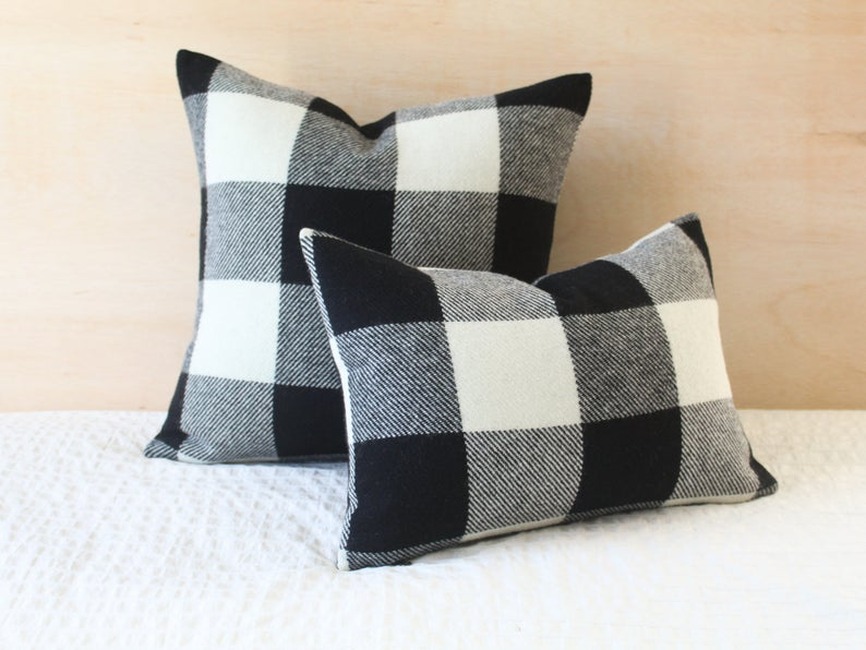 Black And White Buffalo Plaid Wool Pillow Cover Farmhouse Plaid Wool Pillow Cover Black Buffalo Check Pillow Cover By True Having Wool Pillows Pillow Covers Pillows