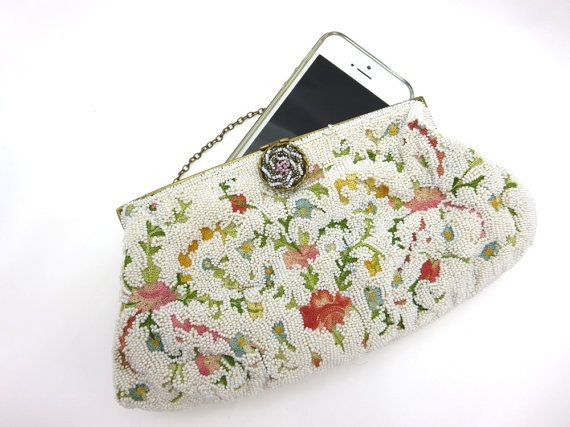 White Beaded Purse - Floral Embroidered Seed Bead Bridal Wedding Delill Clutch Bag