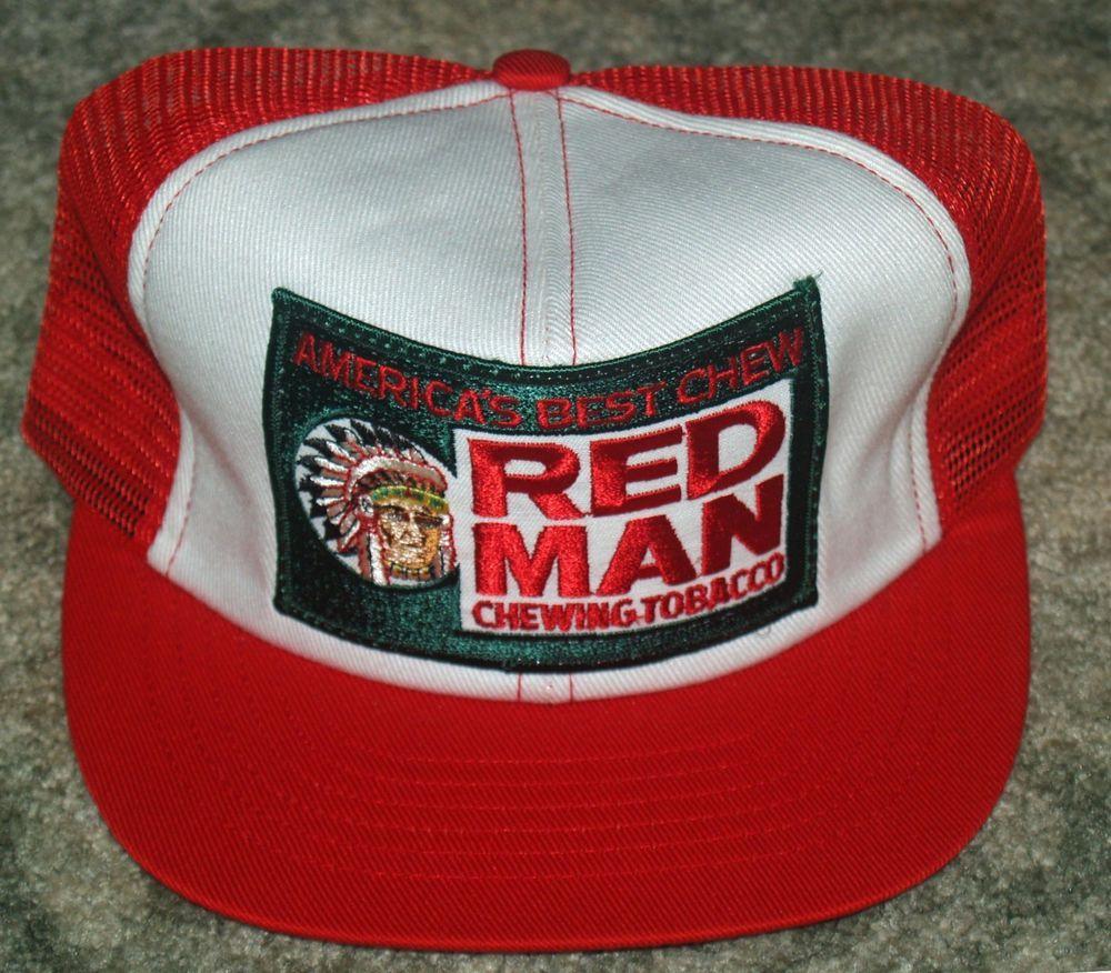 dfa67b80f2d06 Vintage RED MAN Chewing Tobacco America s Chew Mesh Truckers Cap Hat  Snapback  BaseballCap