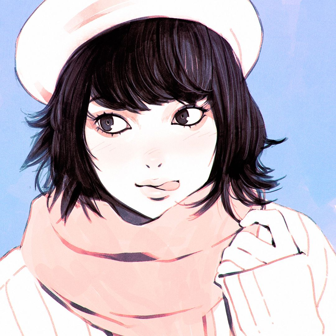 Original Anime Girl Winter Snow Cute Beautiful Dress Short