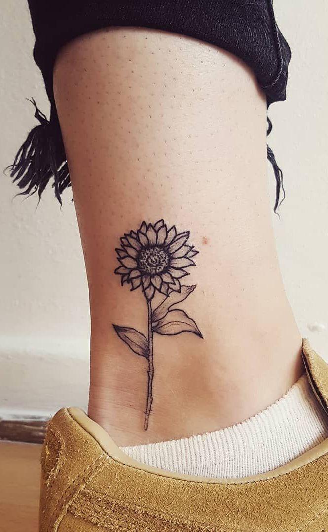 Celebrate the Beauty of Nature with these Inspirational Sunflower Tattoos - KickAss Things -  cute & small sunflower tattoo ©️️ tattoo artist victoria rose 💙🌻💙🌻💙🌻💙  - #beauty #blackandgraytattoos #bodyart #Celebrate #Inspirational #KickAss #Nature #Sunflower #tattooideas #Tattoos