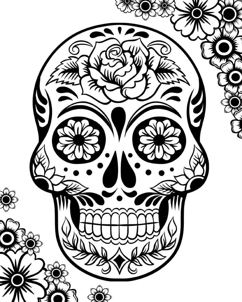 Coloring pictures skulls - Skulls Day Of The Dead Coloring Pages