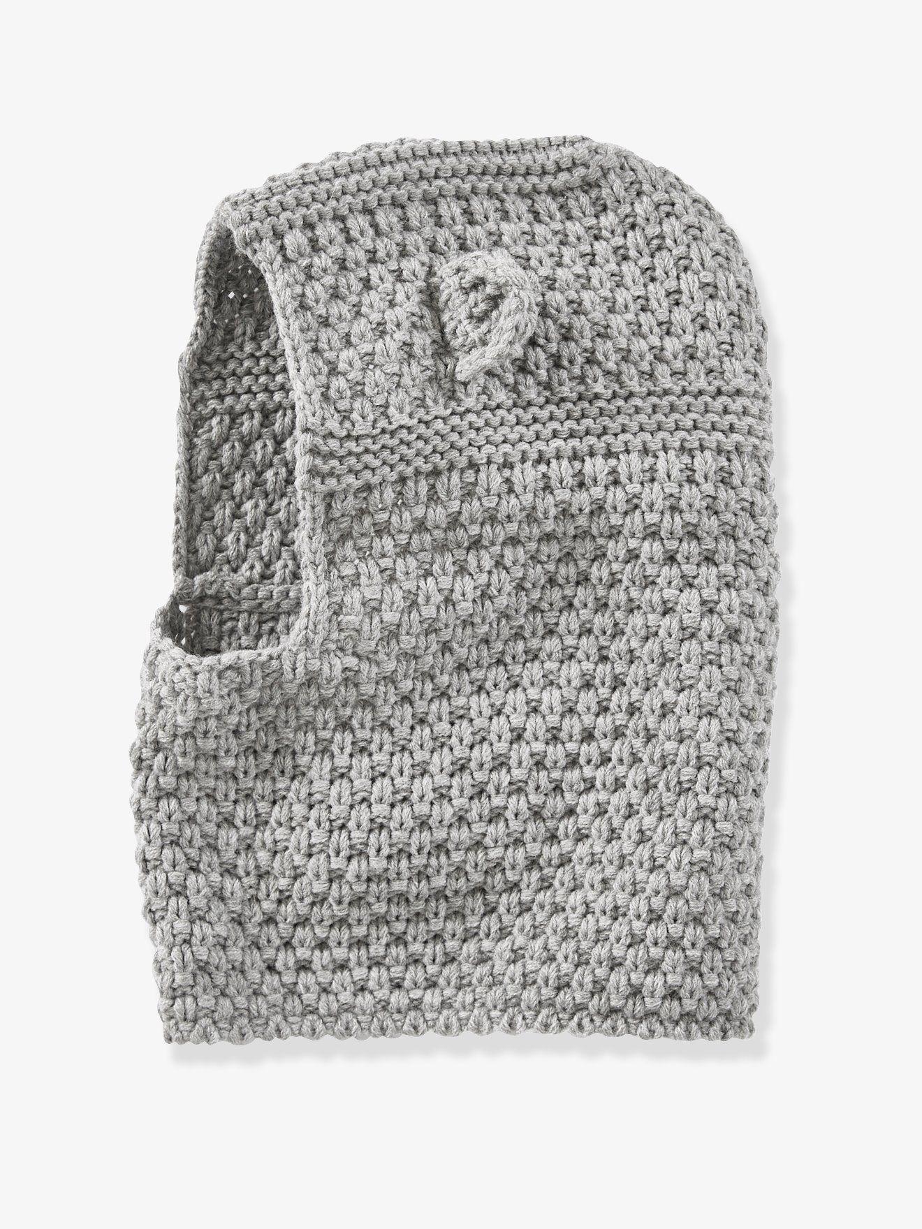 26ee486c021e Cagoule bébé en tricot point fantaisie gris - Bien emmitouflé dans sa  cagoule à oreilles,