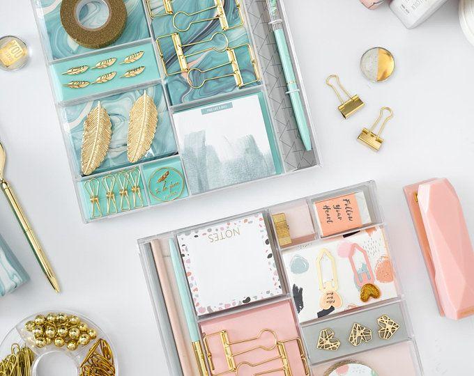 Rose Gold Desk Organizer Set Etsy In 2020 Gold Stationery Stationery Set Stationery Organization