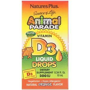 Nature S Plus مصدر الحياة الموكب الحيواني فيتامين D3 قطرات سائلة بنكهة البرتقال الطبيعية 200 وحدة دولية 0 34 أونص Vitamins Vitamin D3 Childrens Vitamins