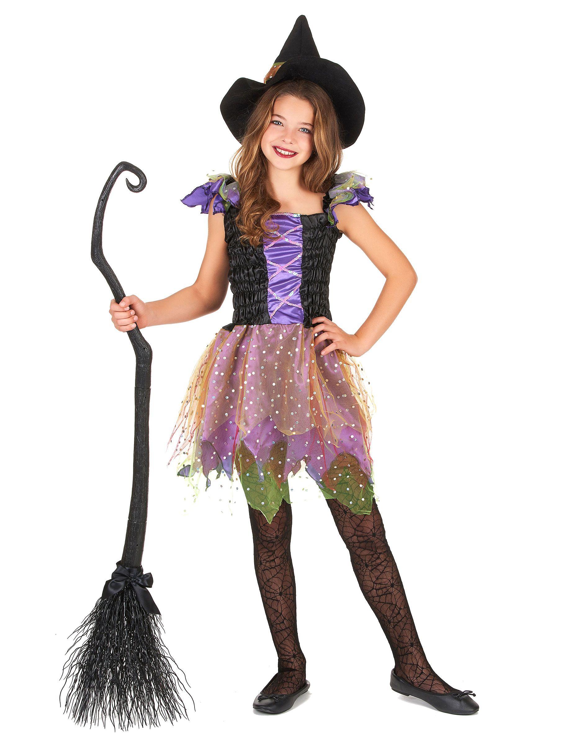Costume strega colorata bambina  Questo travestimento da streghetta per  bambina comprende un abitino e un 35131ee4be01