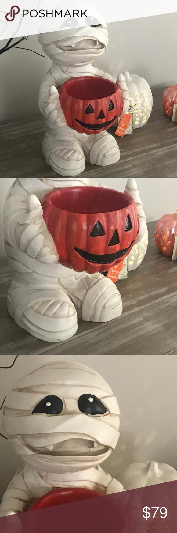 Halloween Mummy Figure Statue Pumpkin Bowl Candy BRAND NEW