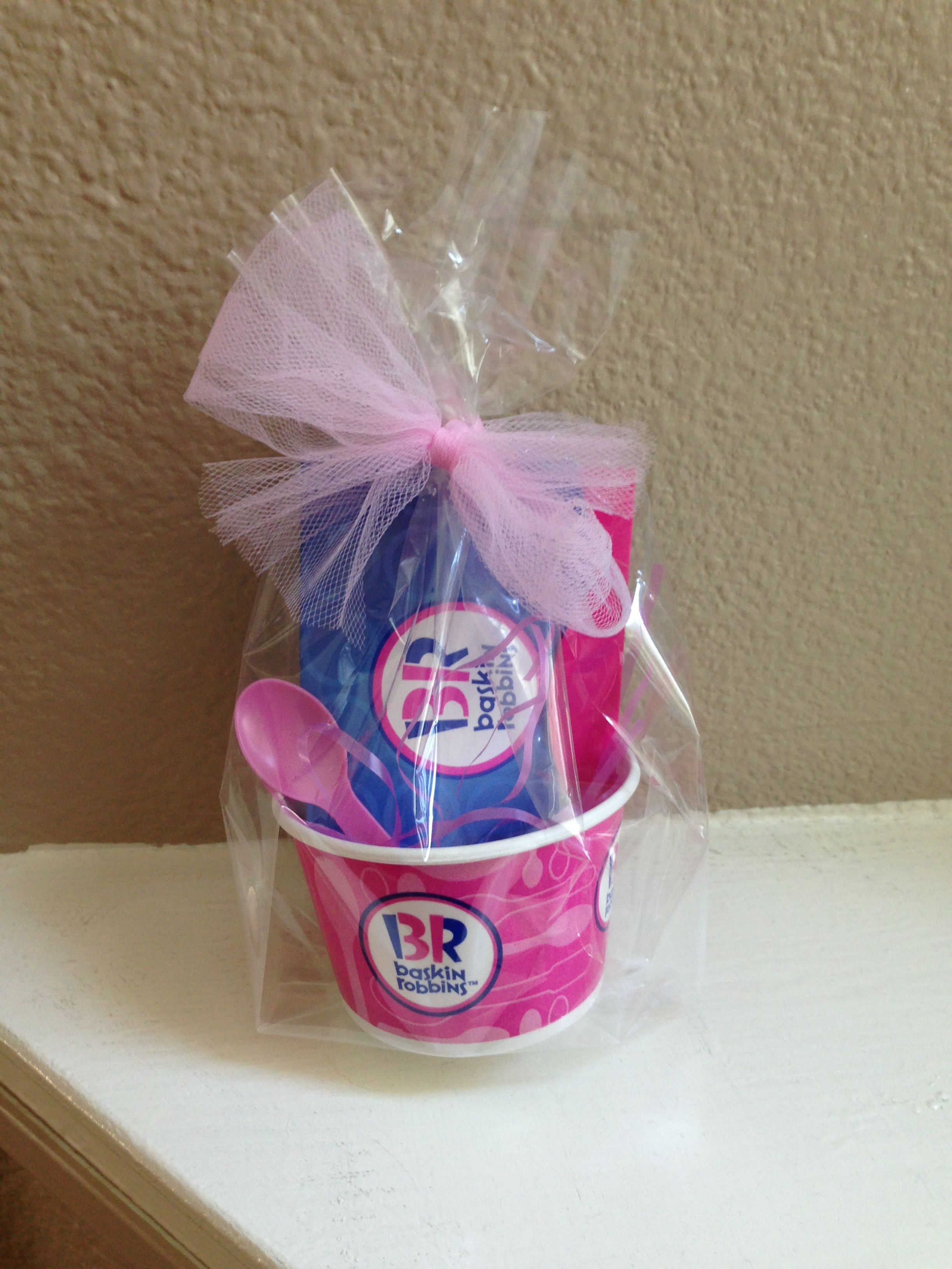 Baskin robbins gift card party favor getting crafty