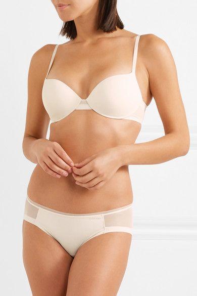 655c2e3030 Calvin Klein Underwear - Sculpted Stretch-jersey And Mesh Underwired Bra -  Ivory