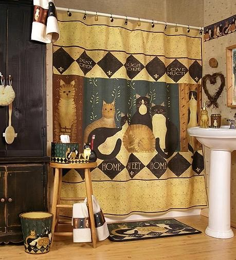 Country Cats Bathroom Decoration With Images Cat Shower