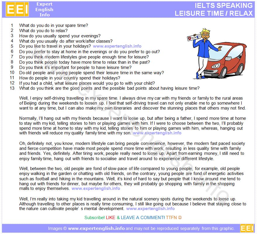 IELTS Speaking - Leisure Time / Relax   Ronans Study   Ielts