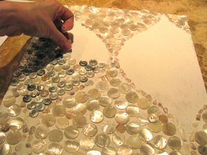 Wall treatment with shell beads and buttons