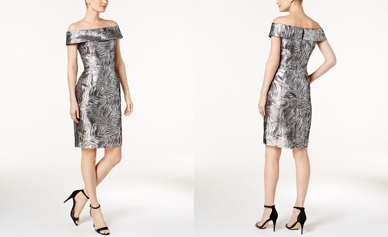 27++ Calvin klein off the shoulder brocade dress trends