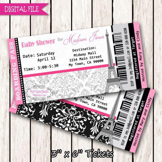 Paris Boarding Pass Invitation Ticket Eiffel Tower Baby Shower Birthday Bridal Print At Ho