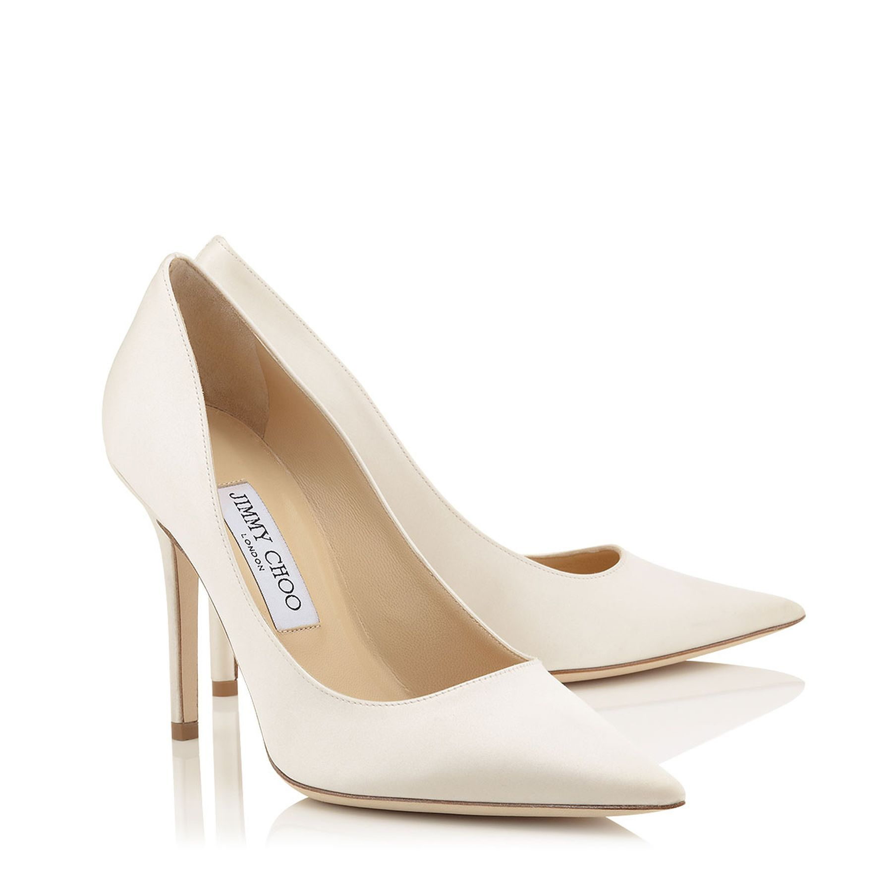 Ivory Satin Pointy Toe Pumps Abel Bridal Collection