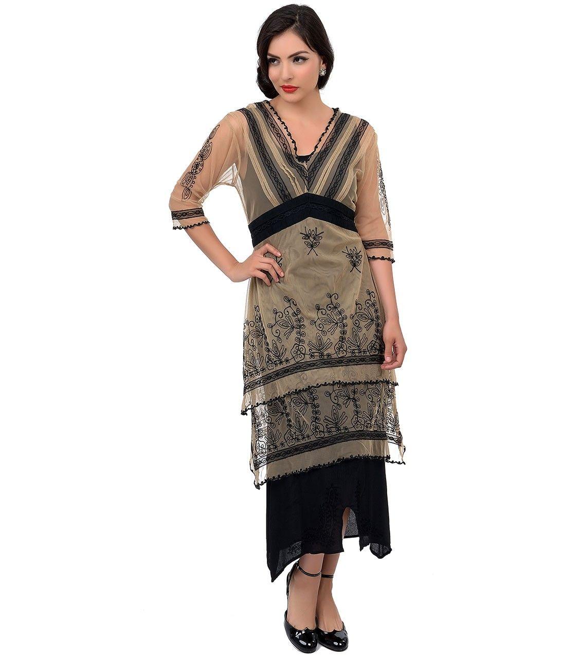 Nataya 1930s Nude & Black Embroidered Titanic Tulle Tea Length Dress