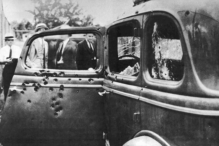 Bonnie and Clyde's car, riddled with bullets following