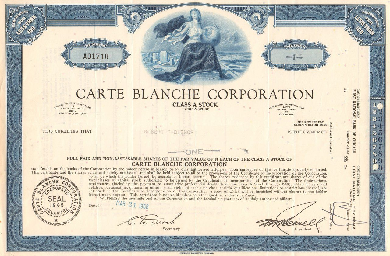 Carte Blanche Corporation Stock Certificate  Credit Cards