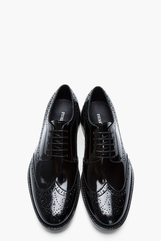 Pierre Balmain Black Patent Classic Shortwing Brogues