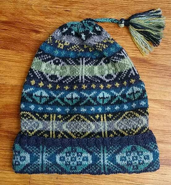Fair Isle kep - blues/greens