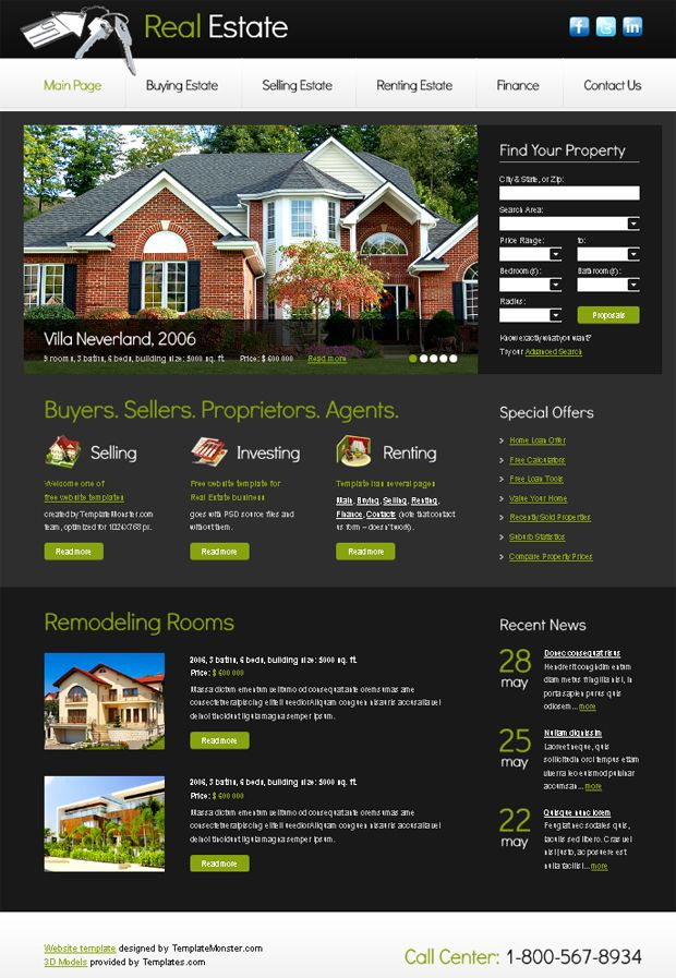 Free Website Template with Slideshow for Real Estate Project | Real ...