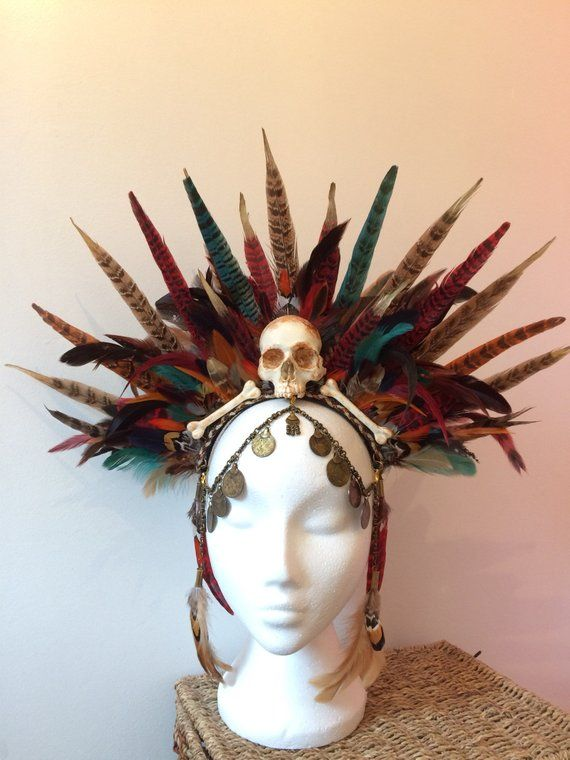 Voodoo Priestess Shaman Witch Doctor Headdress Chicken