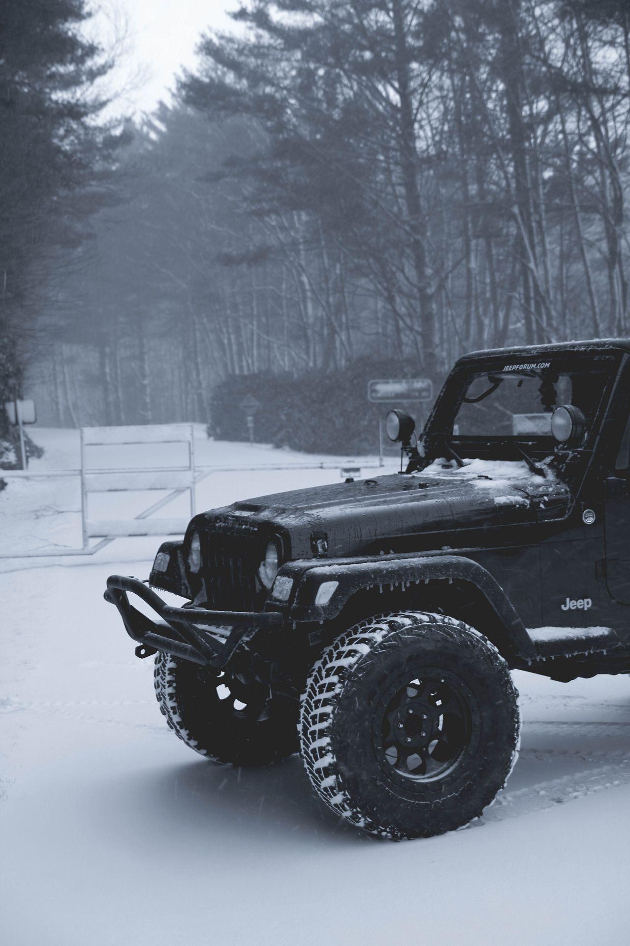 Black Jeep Wrangler In Snow Jeep Jeep Cars Jeep Wrangler