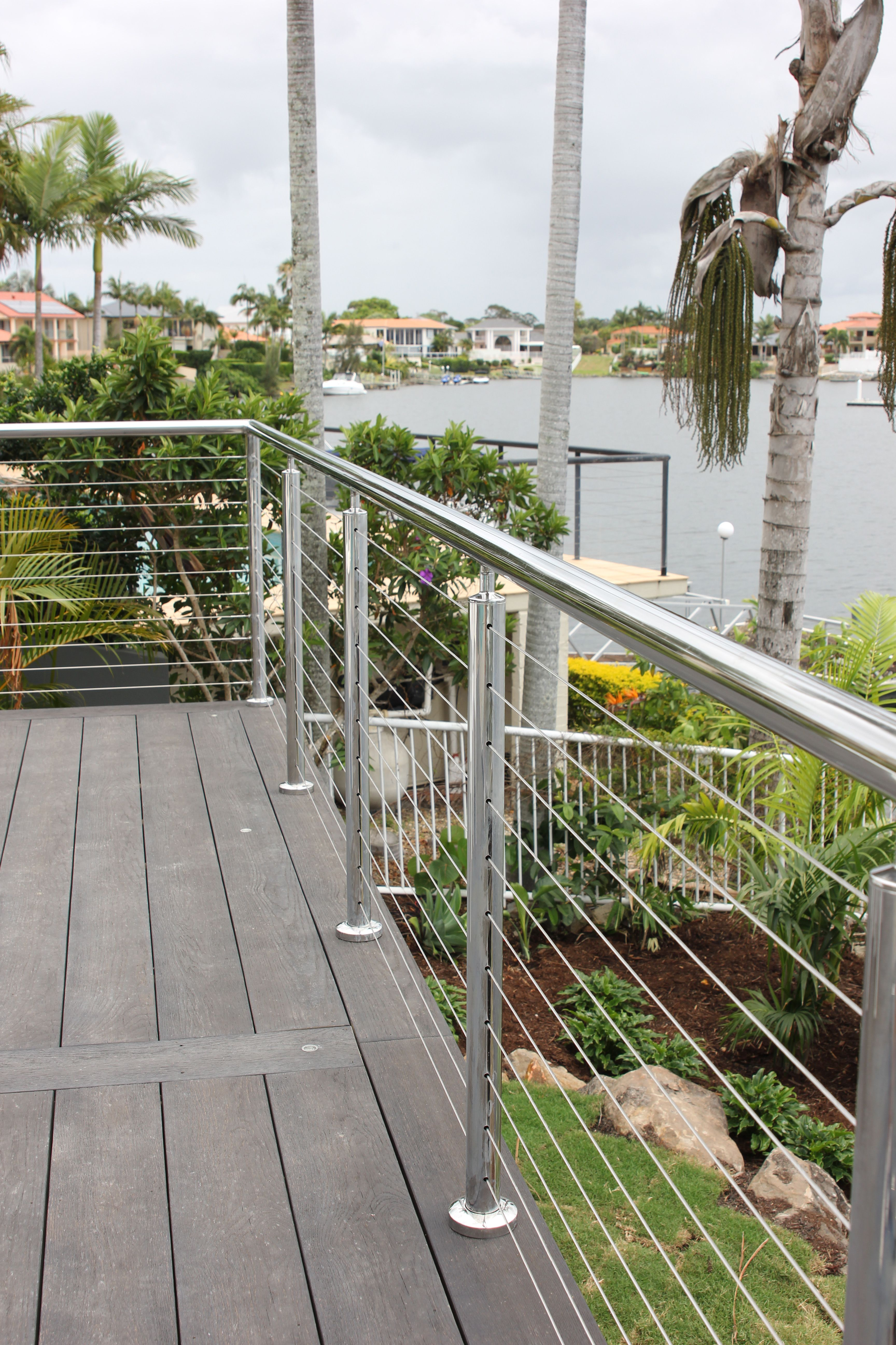 steel posts for shade sails on custom made stainless steel post and handrails welded onsite with nutsert swage stud balustrade system satin polish f diy outdoor exterior design shade sail pinterest